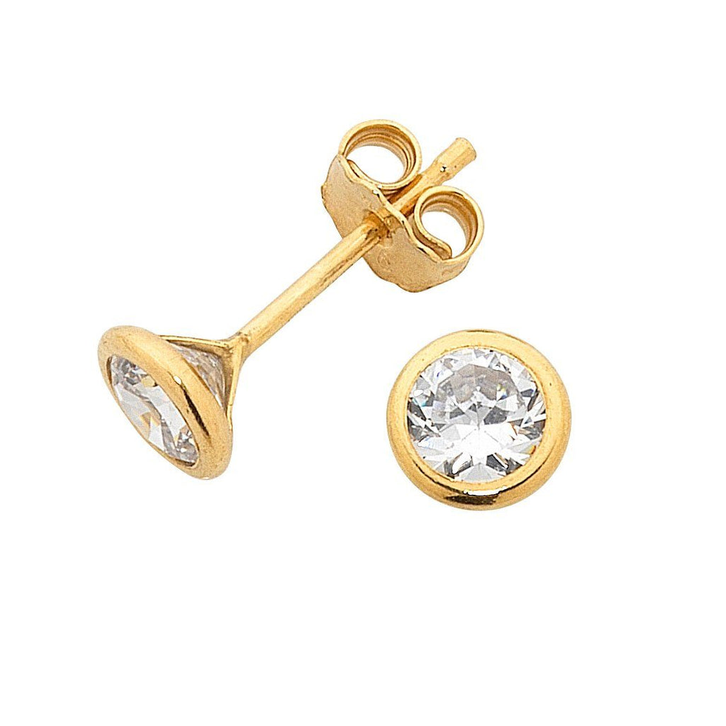 9ct Yellow Gold Silver Infused Cubic Zirconia Stud Earrings