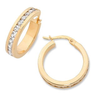 9ct Yellow Gold Silver Infused Cubic Zirconia Hoop Earrings 15mm