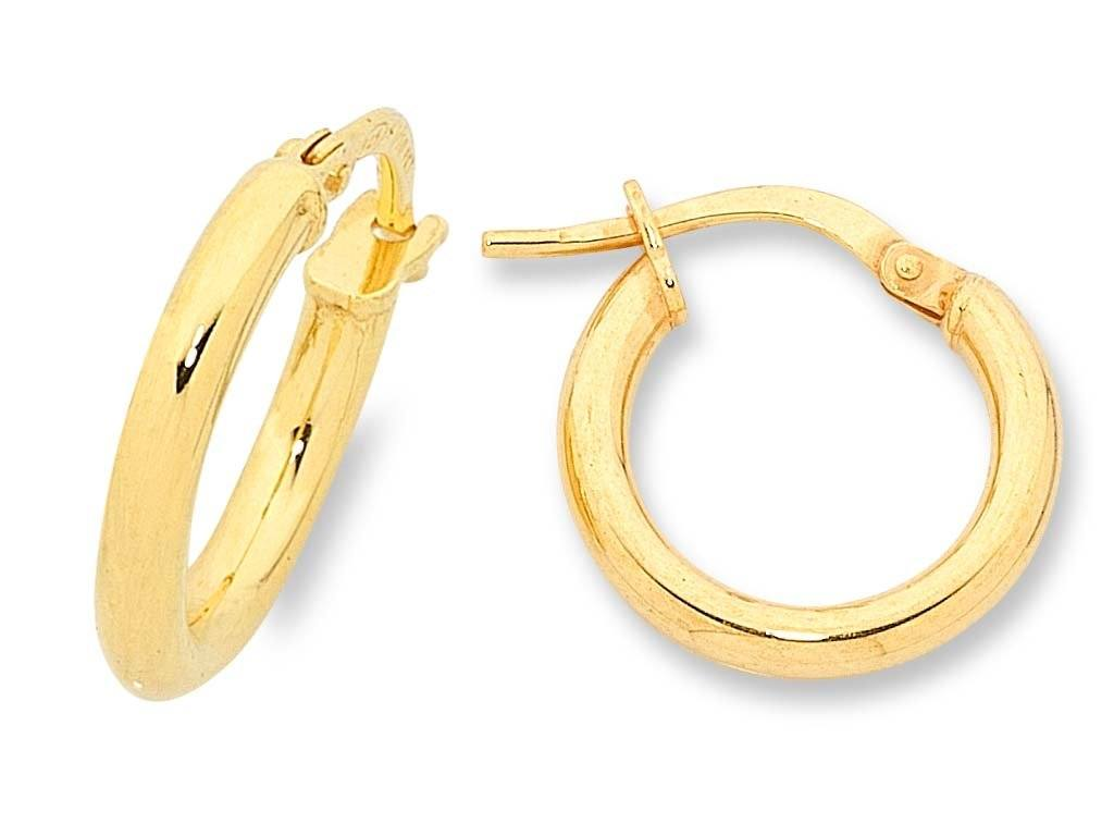 9ct Yellow Gold Silver Infused Plain Hoop Earrings 15mm