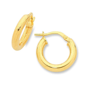 9ct Yellow Gold Silver Infused Hoop Earrings 10mm