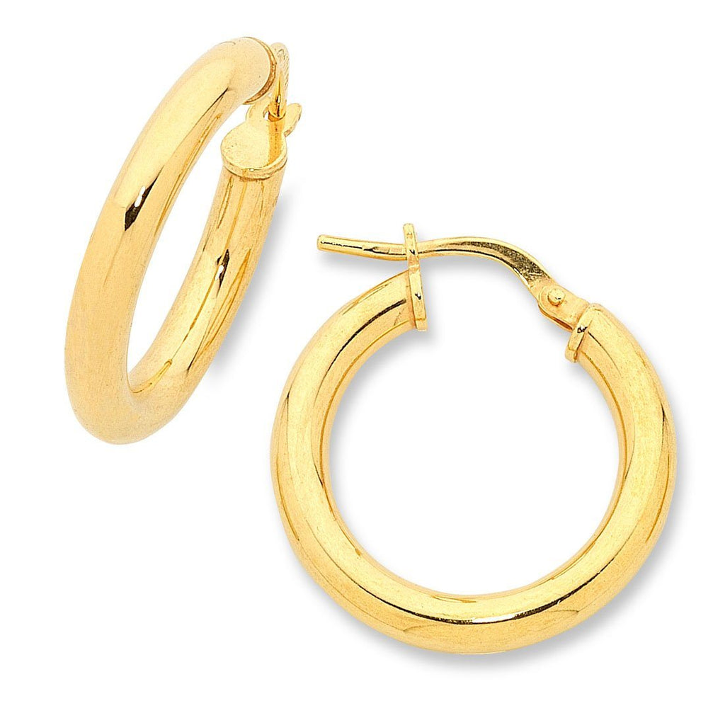 9ct Yellow Gold Silver Infused Hoop Earrings 15mm