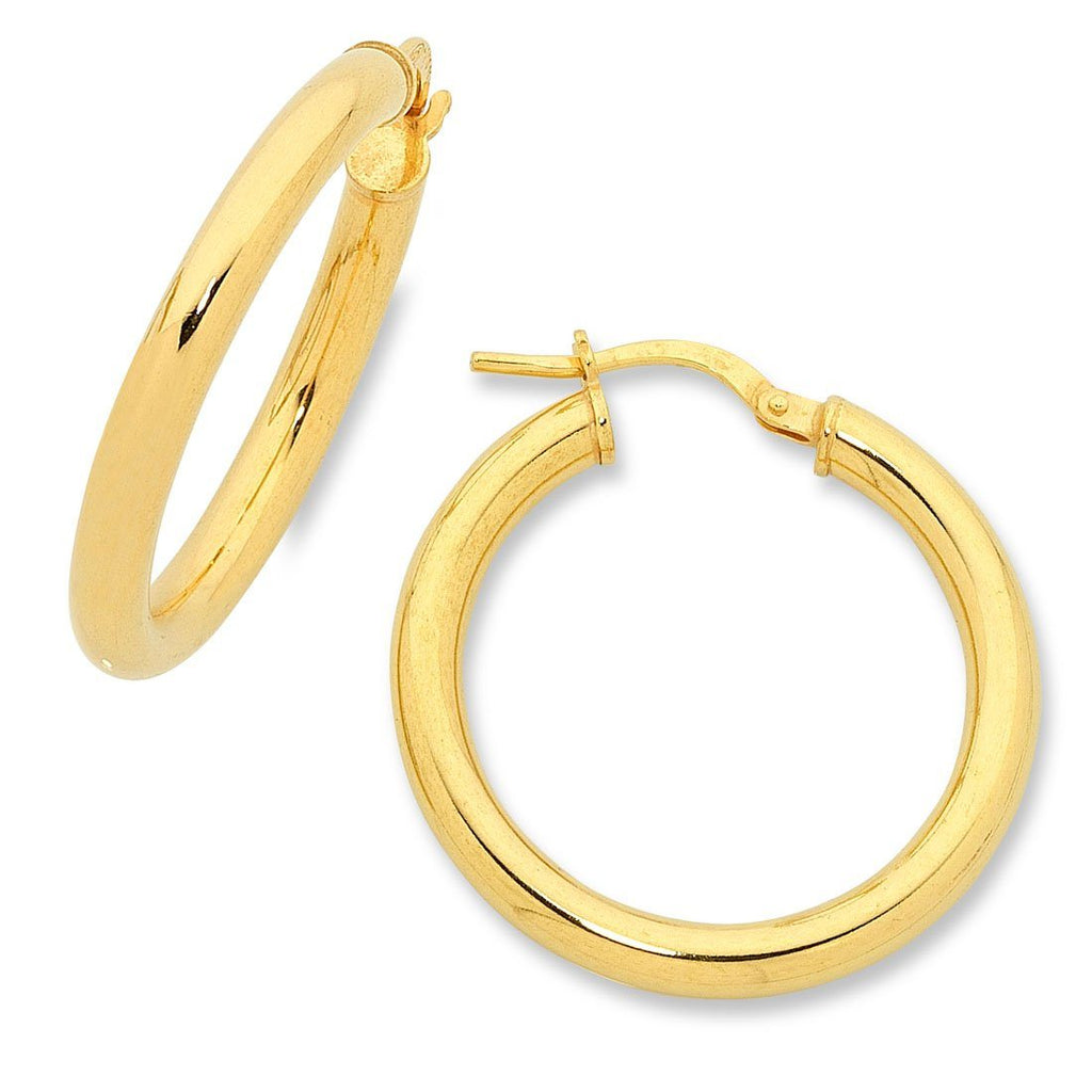 9ct Yellow Gold Silver Infused Hoop Earrings 20mm