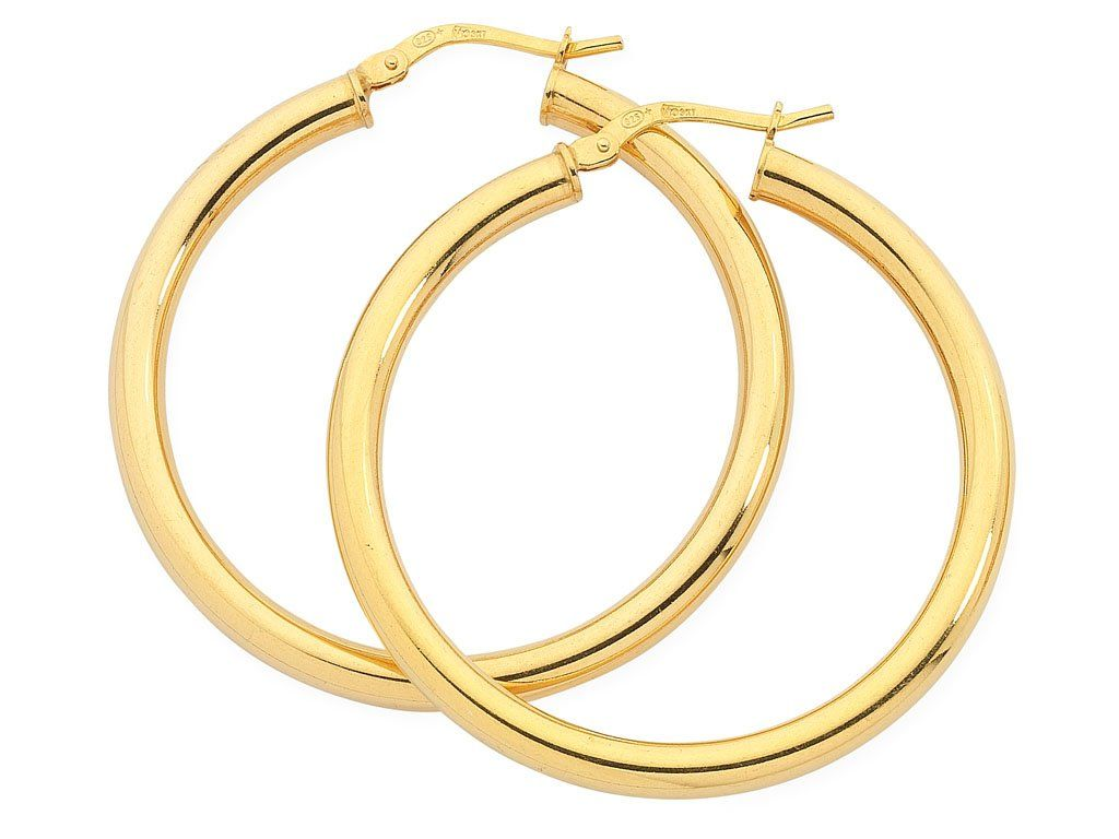 9ct Yellow Gold Silver Infused Hoop Earrings 30mm Earrings Bevilles