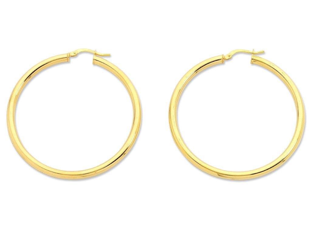 9ct Yellow Gold Silver Infused Hoop Earrings 40mm Earrings Bevilles