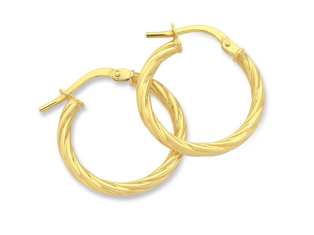 9ct Yellow Gold Silver Infused Hoop Earrings Earrings Bevilles