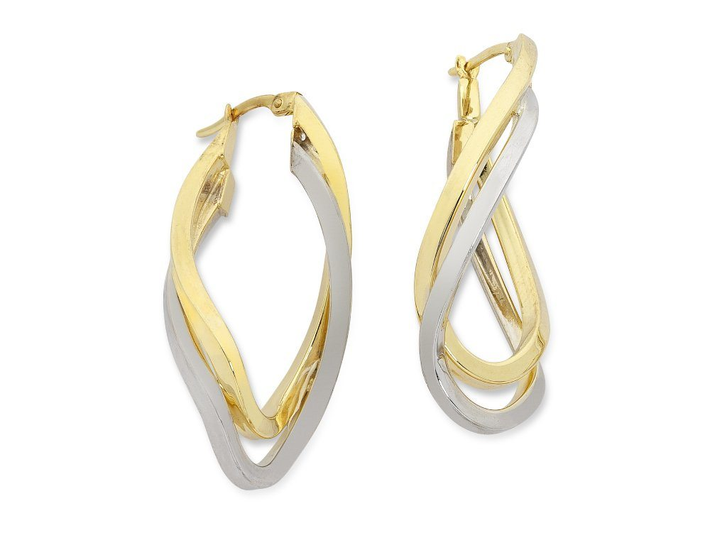 9ct Two Tone Silver Infused Twist Hoop Earrings Earrings Bevilles