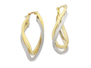9ct Two Tone Silver Infused Twist Hoop Earrings