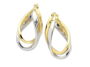 9ct Two Tone Silver Infused Hoop Earrings
