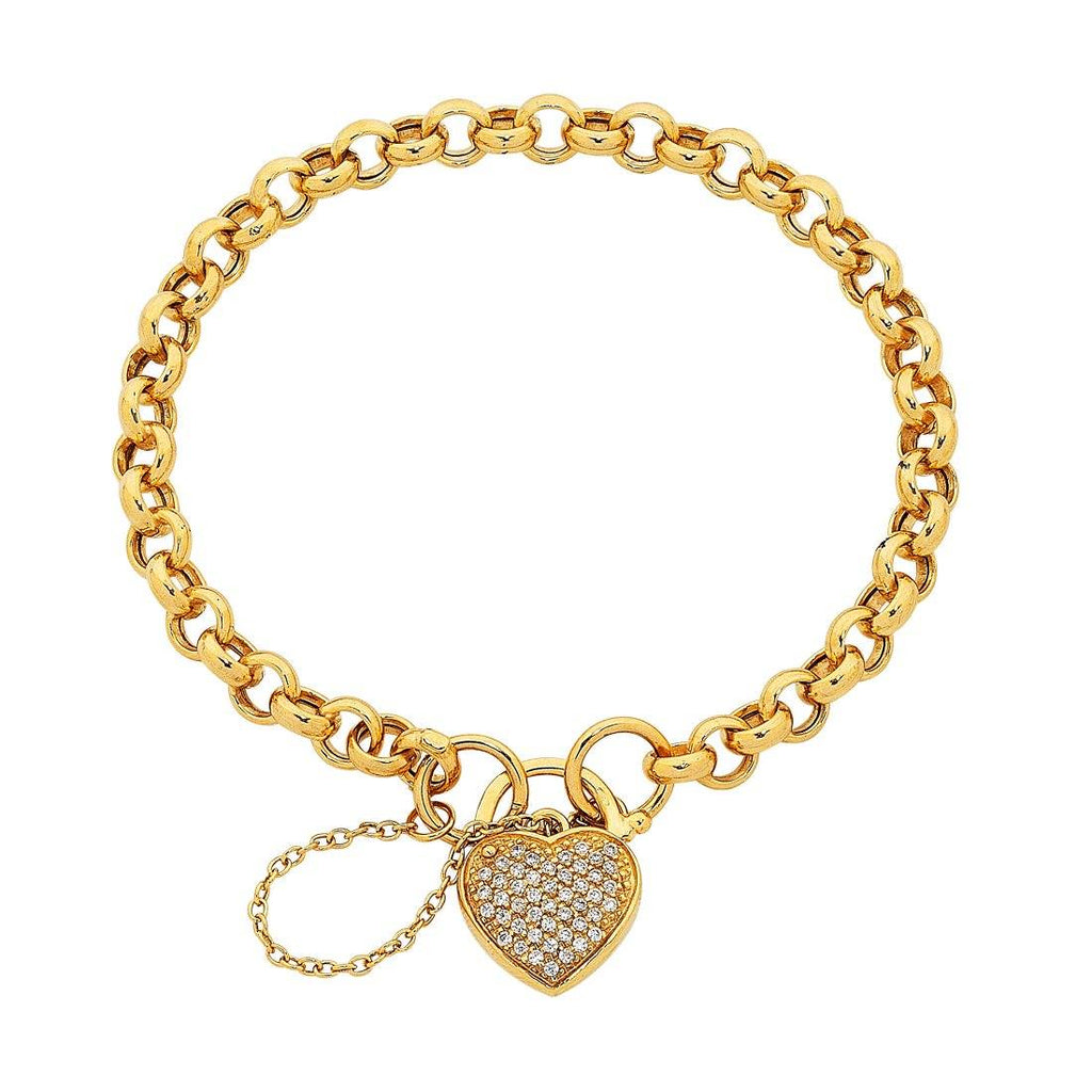 9ct Gold Silver Infused Cubic Zirconia Padlock Bracelet