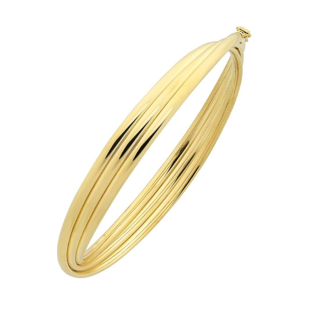9ct Yellow Gold Silver Infused Triple Crossover Oval Bangle