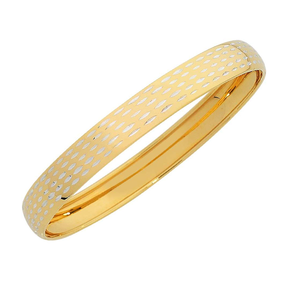9ct Yellow Gold Silver Infused Patterned Bangle
