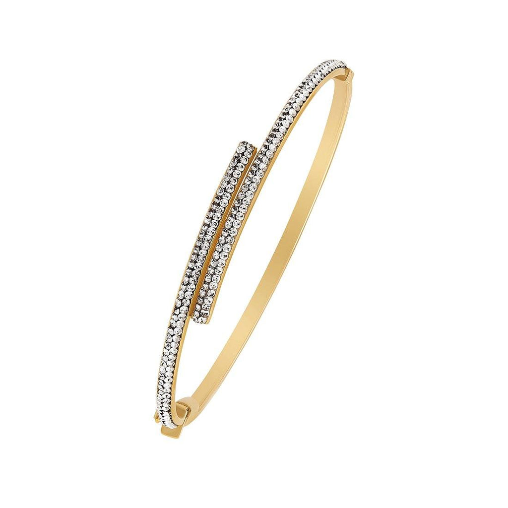 Double Row Oval Crystal Bangle in 9ct Yellow Gold Silver Infused Bracelets Bevilles