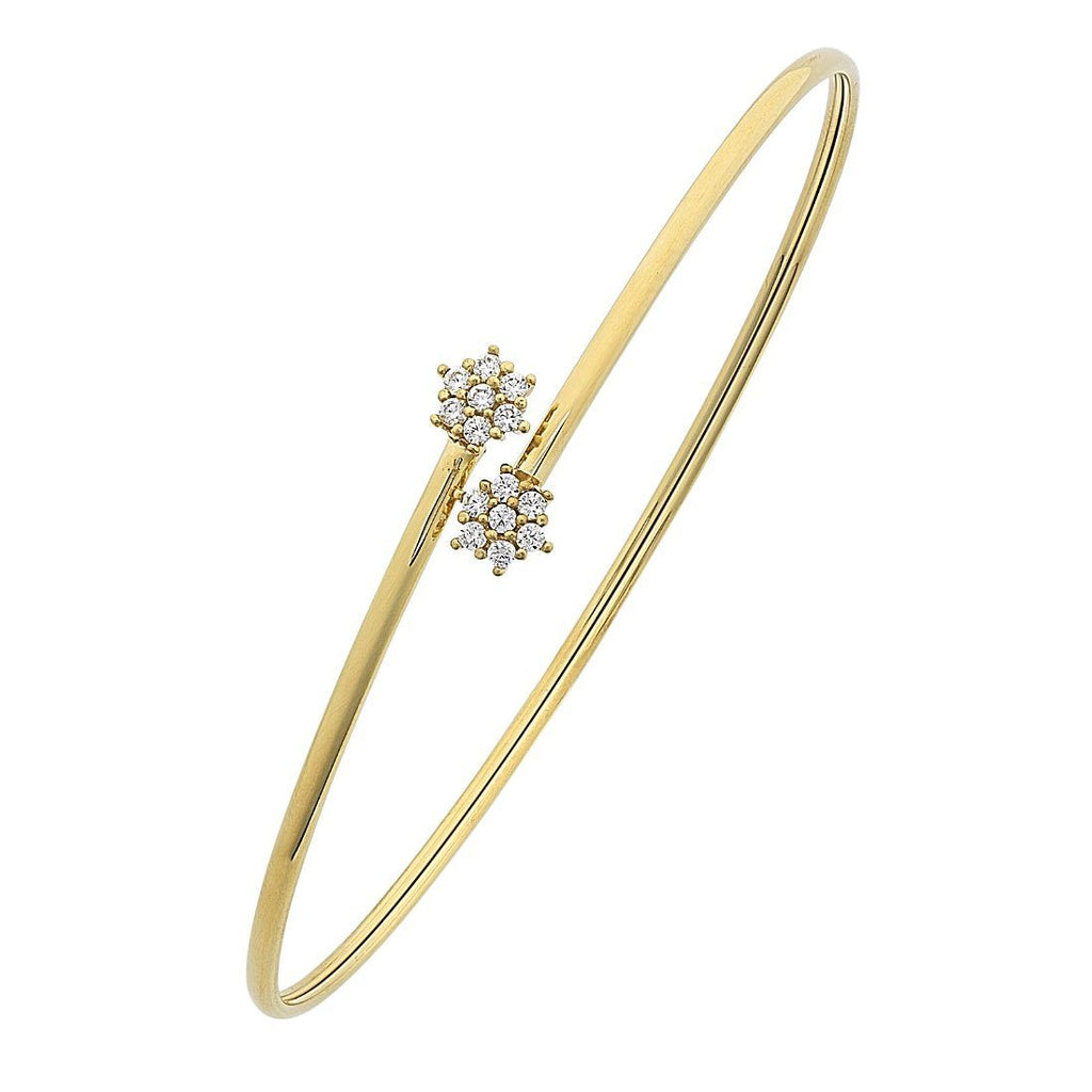 9ct Yellow Gold Silver Infused Flower Cuff Bangle