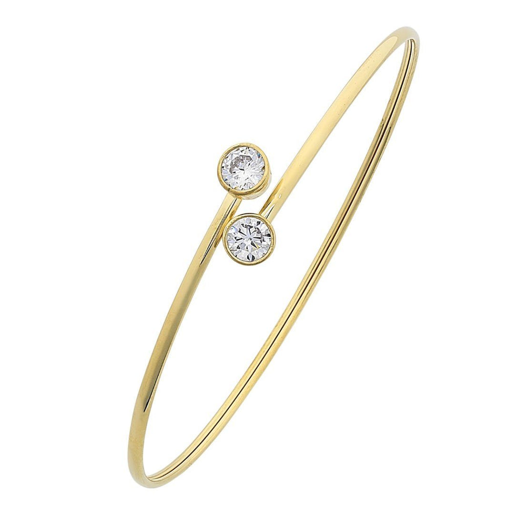 9ct Yellow Gold Silver Infused Cubic Zirconia Cuff Bangle