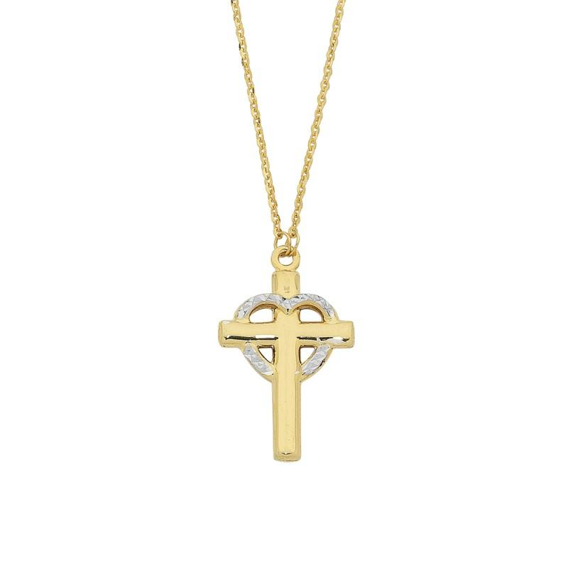 9ct Yellow Gold Silver Infused Two Tone Cross & Heart Pendant Necklace