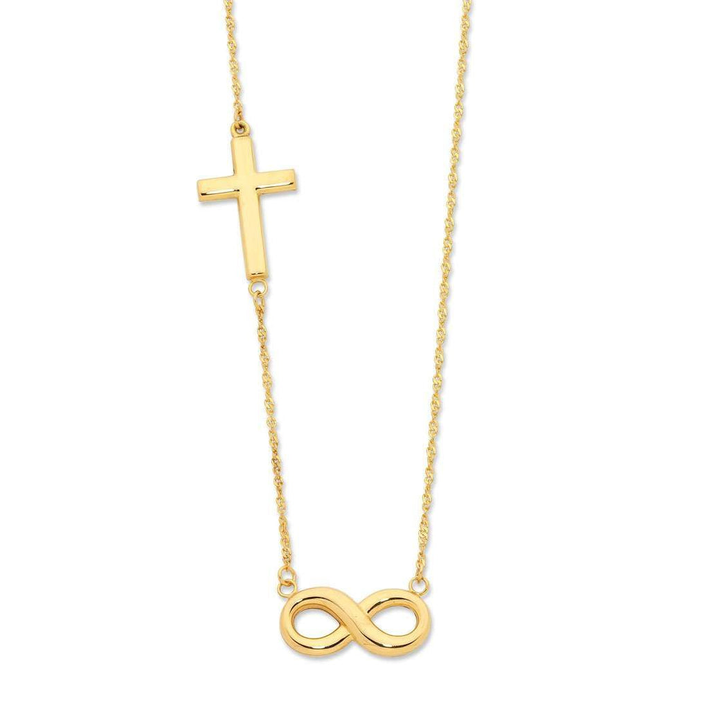 Cross & Infinity Necklace in 9ct Yellow Gold Silver Infused Necklaces Bevilles