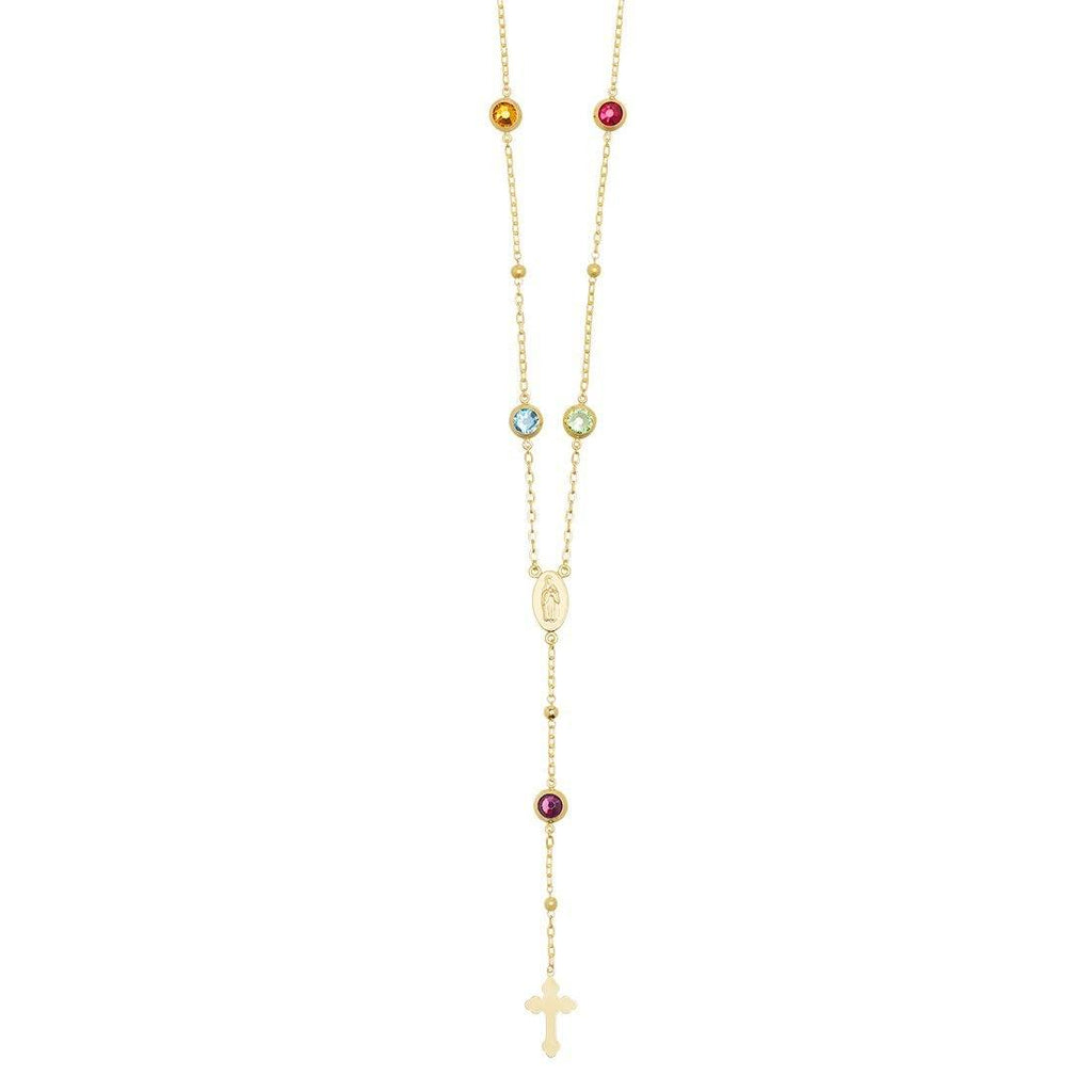 Multi Coloured Crystal Rosary Necklace 65cm in 9ct Yellow Gold Necklaces Bevilles