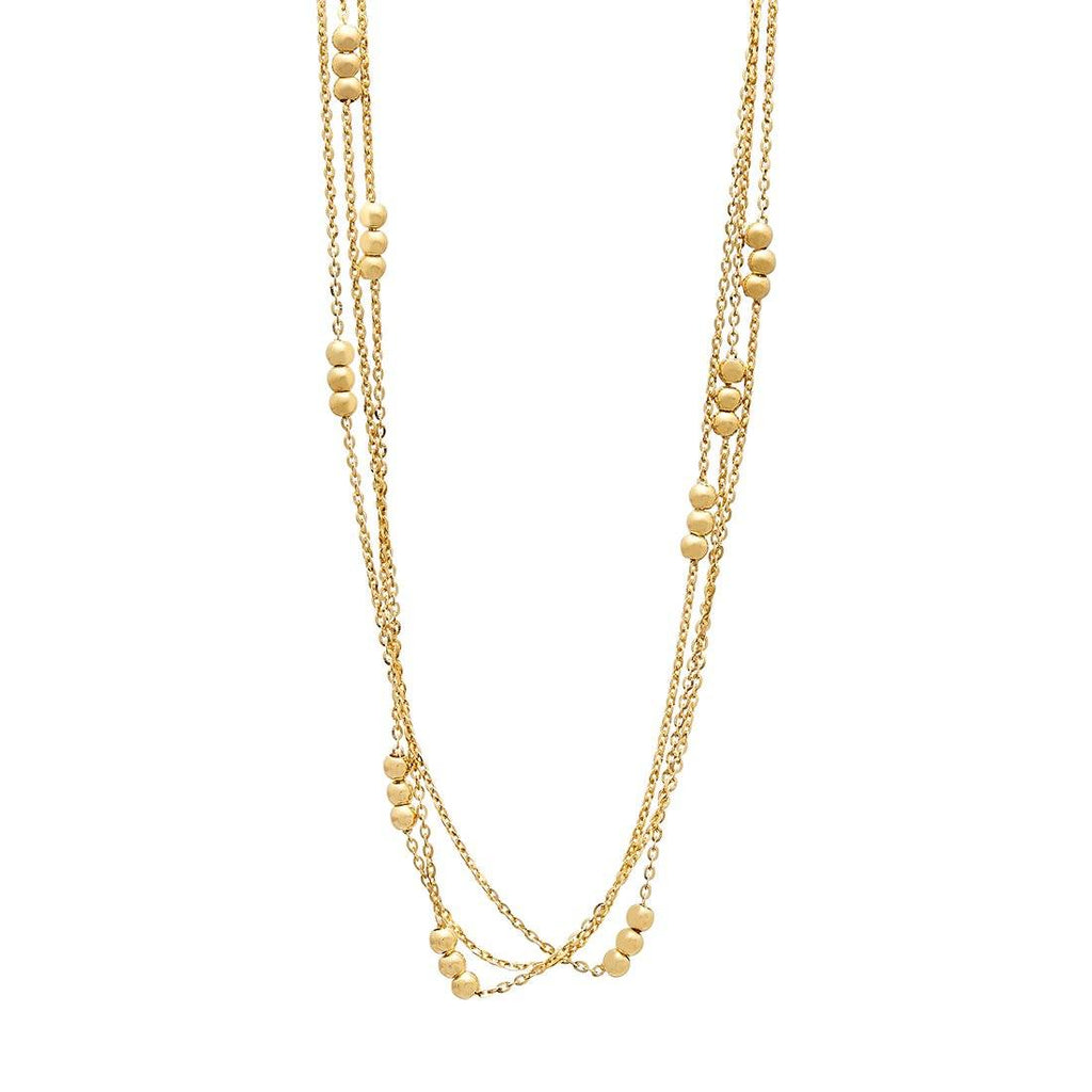 9ct Yellow Gold Silver Infused Strand & Bead Necklace Necklaces Bevilles