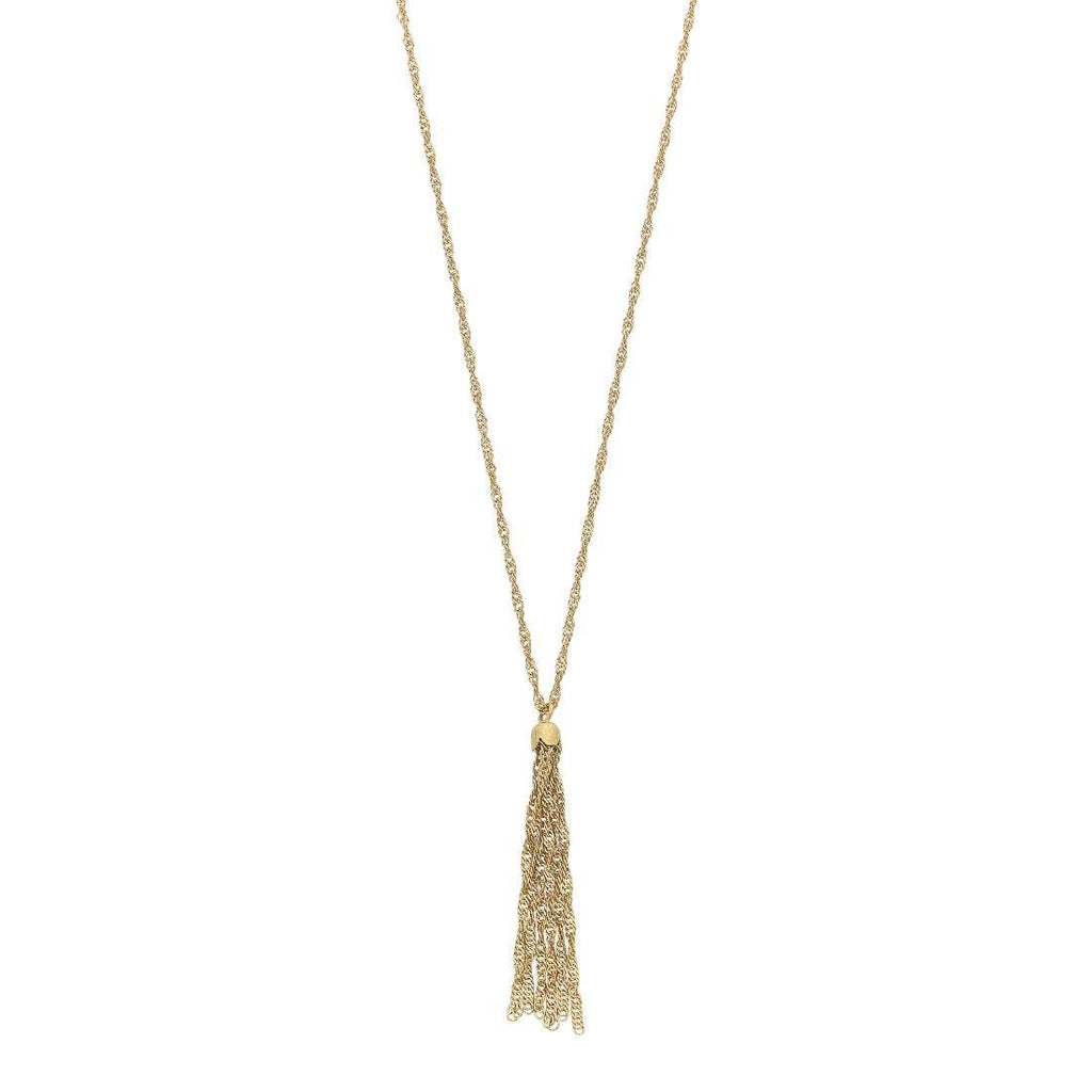 Singapore Link Necklace with Tassels in Silver Filled 9ct Yellow Gold Necklaces Bevilles