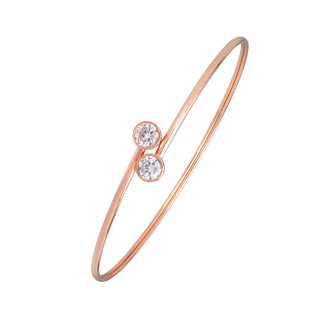 Cubic Zirconia Double Bezel Bangle in 9ct Rose Gold Silver Infused Bracelets Bevilles