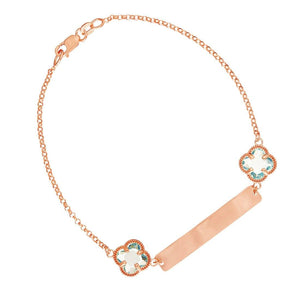 9ct Rose Gold Silver Infused Blue Clover ID Bracelet 19cm