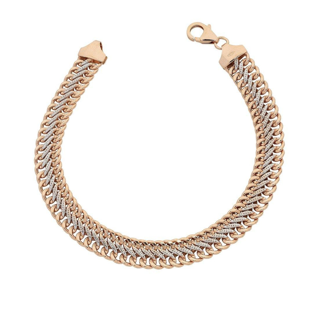 9ct Rose Gold Silver Filled Link Bracelet 19cm