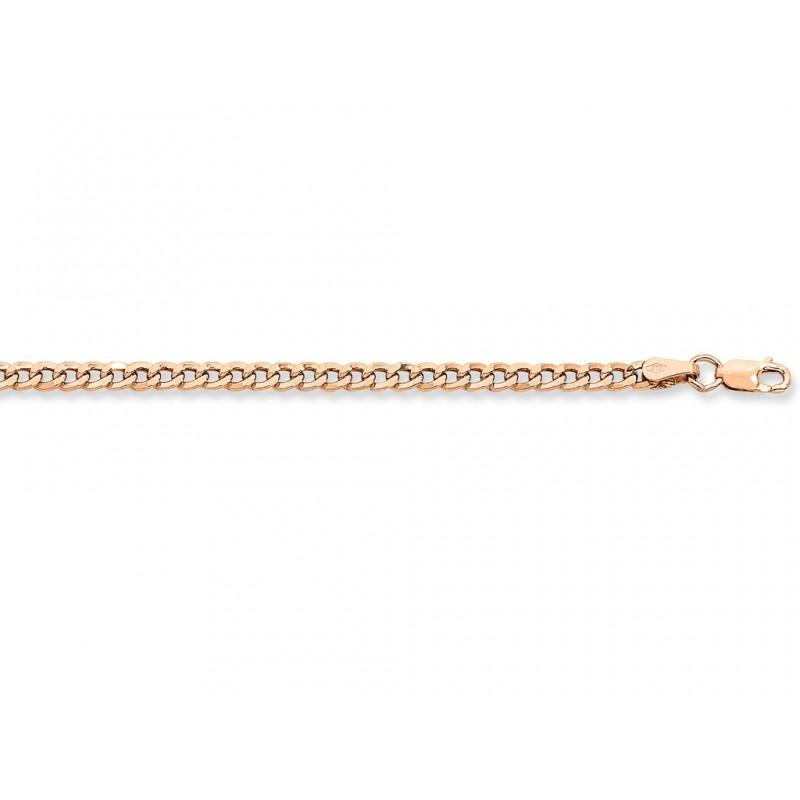 60cm 9ct Rose Gold Silver Infused Flat Curb Chain Necklace Necklaces Bevilles