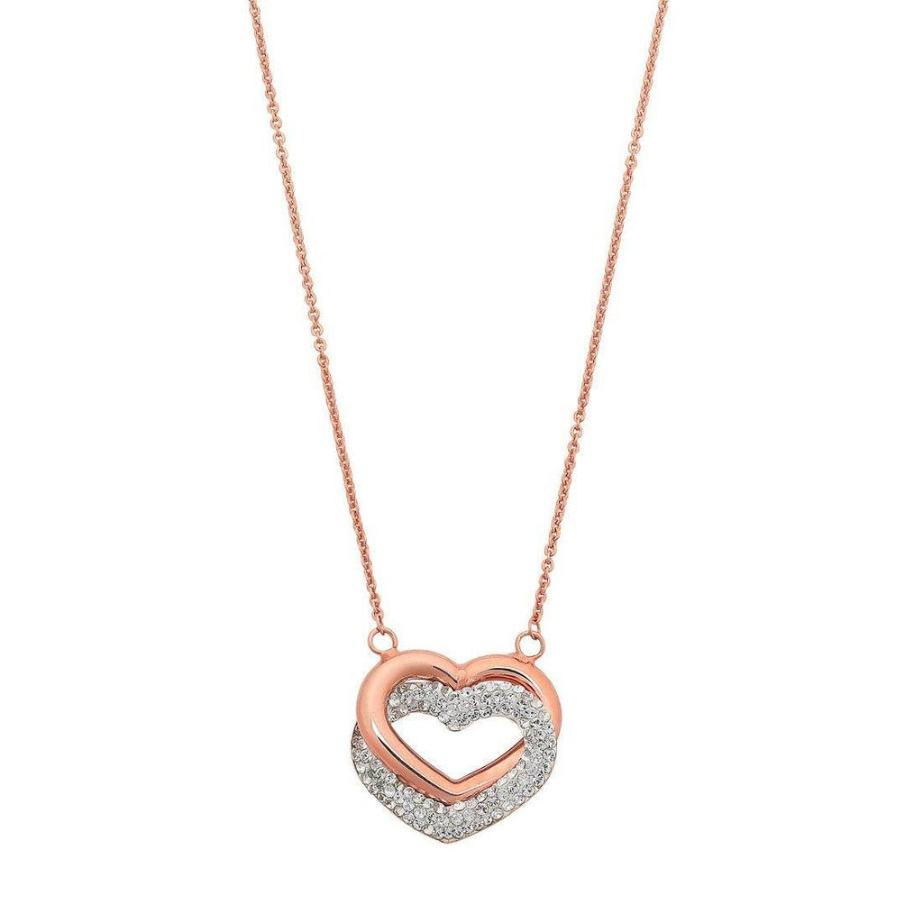 9ct Rose Gold Silver Infused Twin Hearts Necklace with Crystals Necklaces Bevilles
