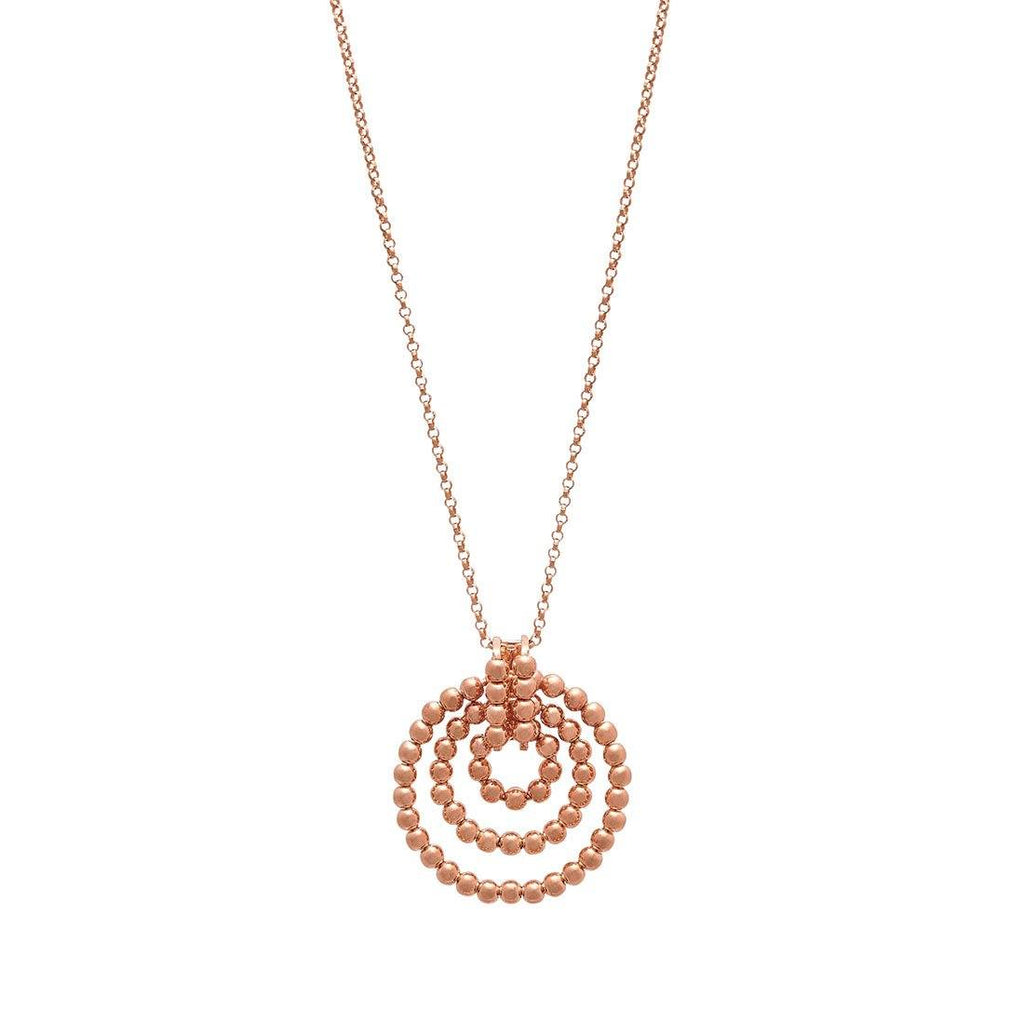 9ct Rose Gold Rolo Bead Pendant Necklace Necklaces Bevilles