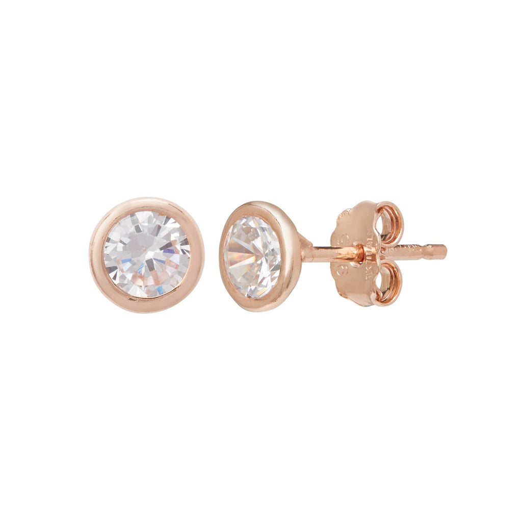 9ct Rose Gold Silver Infused Cubic Zirconia Stud Earrings 5mm Earrings Bevilles