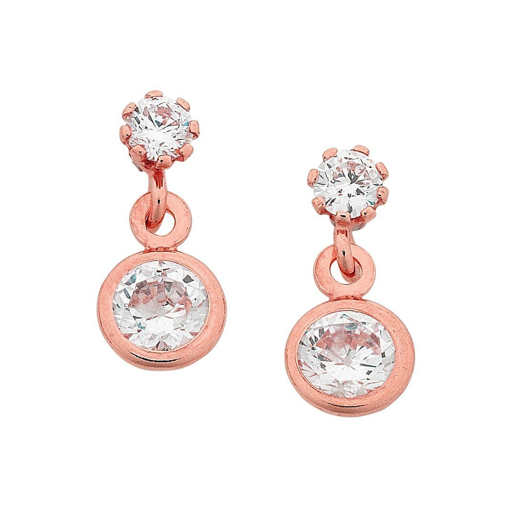9ct Rose Gold Silver Filled Cubic Zirconia Drop Earrings