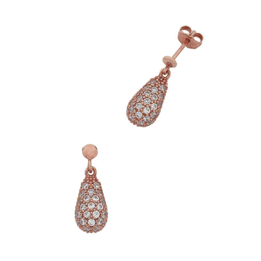 9ct Rose Gold Silver Infused with Cubic Zirconia Pear Shape Drop Earrings Earrings Bevilles