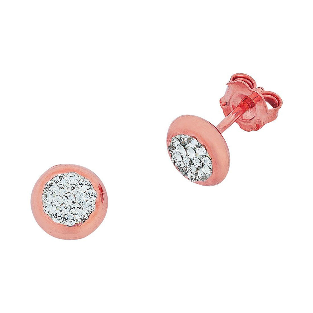 9ct Rose Gold Silver Filled Round Bezel Crystal Stud Earrings