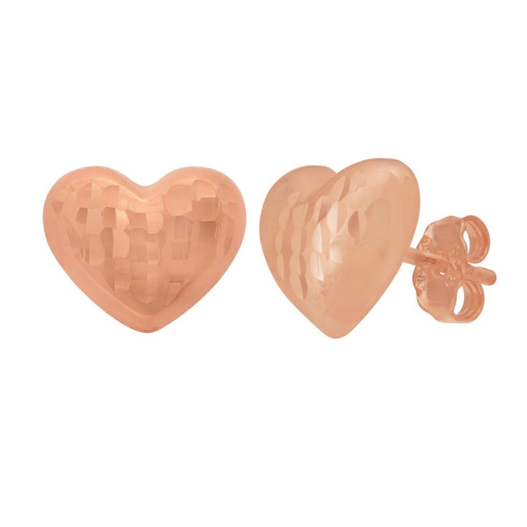 9ct Rose Gold Silver Infused Puff Heart Stud Earrings Earrings Bevilles