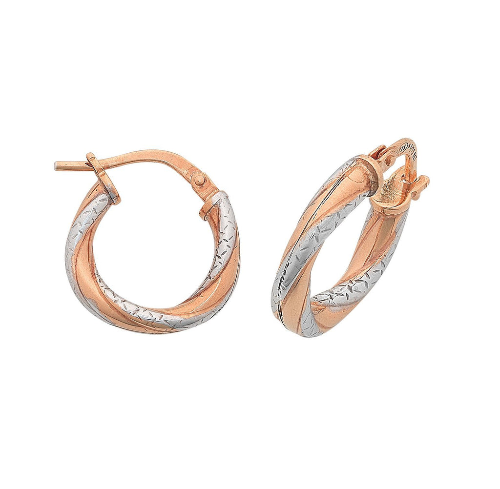 9ct Two Tone Rose Gold Twist Hoop Earrings 15mm