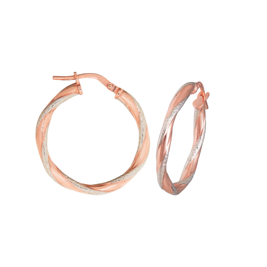 Twist Two Tone Earrings 20mm in 9ct Silver Infused Rose Gold Earrings Bevilles