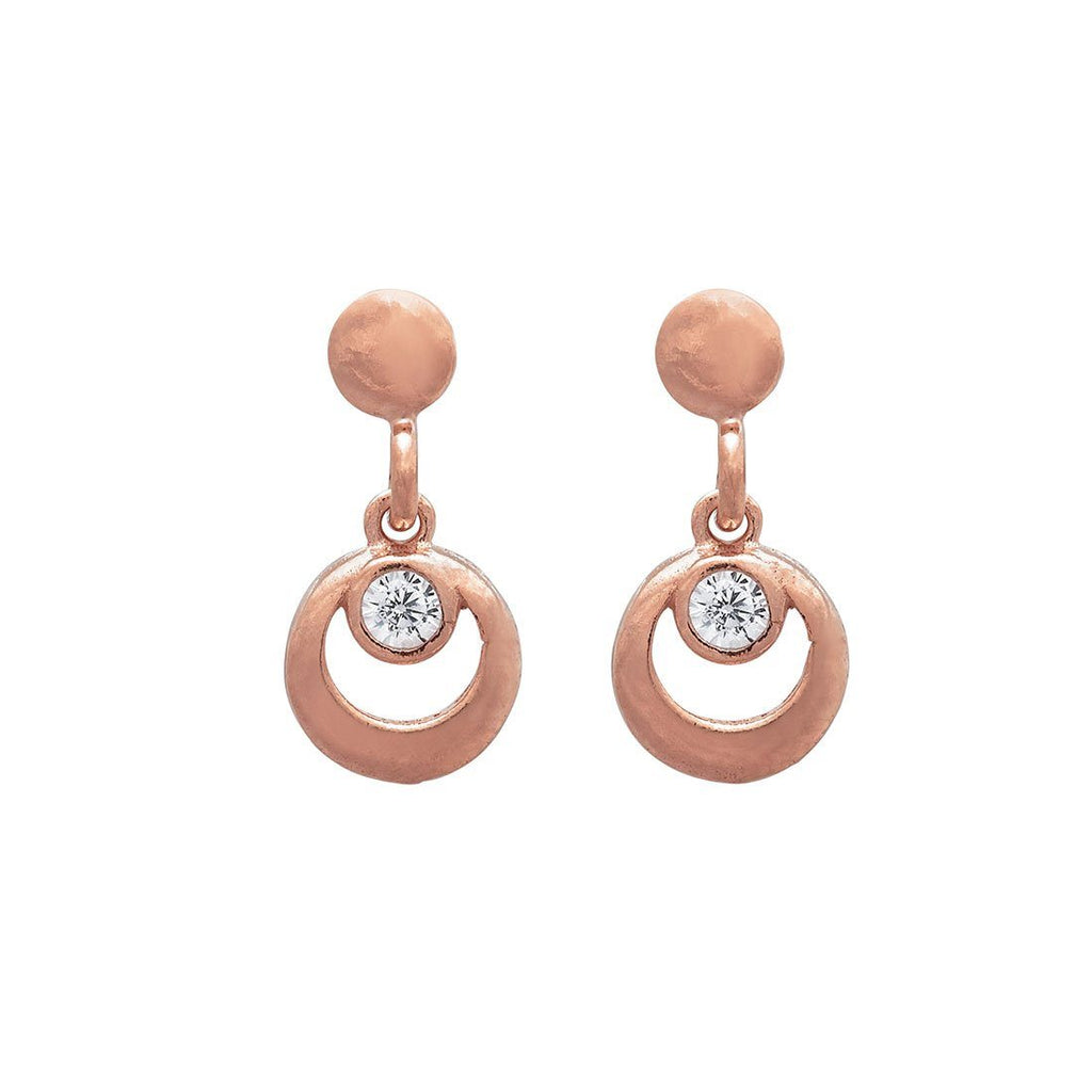 9ct Rose Gold Silver Infused Circle Drop Earrings Earrings Bevilles