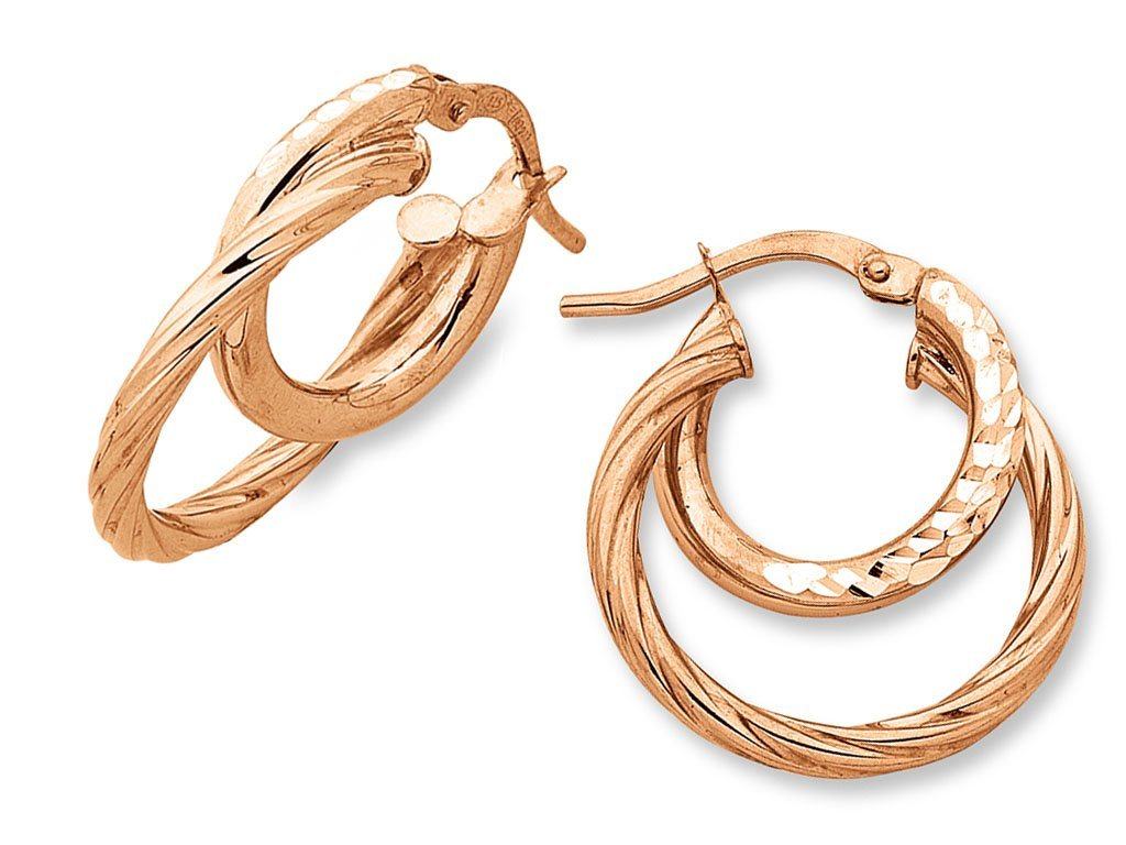 9ct Rose Gold Silver Infused Hoop Earrings