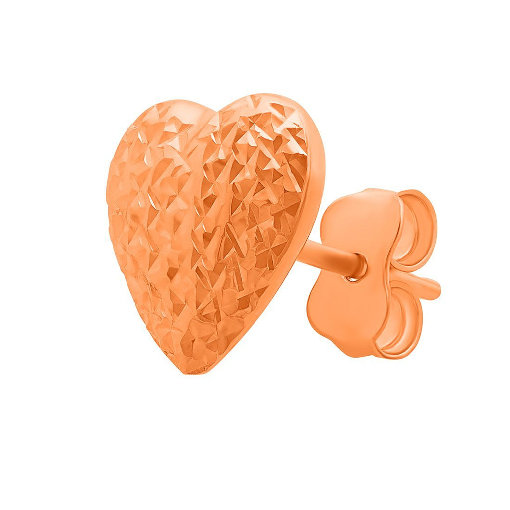 9ct Rose Gold Silver Infused Heart Stud Earring Earrings Bevilles