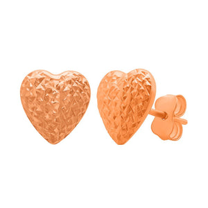 9ct Rose Gold Silver Infused Heart Stud Earring