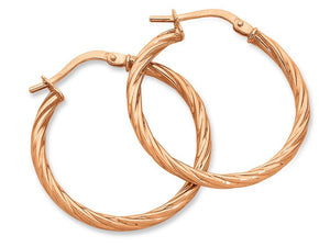9ct Rose Gold Silver Infused Twist Hoop Earrings- 2mm x 20mm