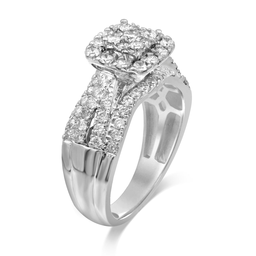 Brilliant Square Fancy Ring with 1.00ct of Diamonds in 9ct White Gold Rings Bevilles