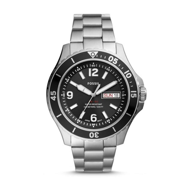 Fossil Black & Silver Analogue Watch FS5687 Watches Fossil