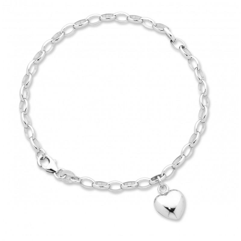 9ct White Gold Silver Infused Heart Charm Bracelet
