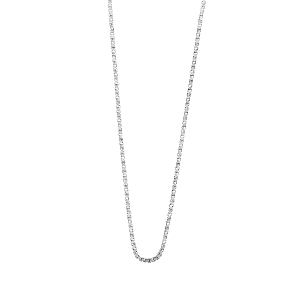 9ct White Gold Silver Infused Box Link Chain Necklace 55cm Necklaces Bevilles