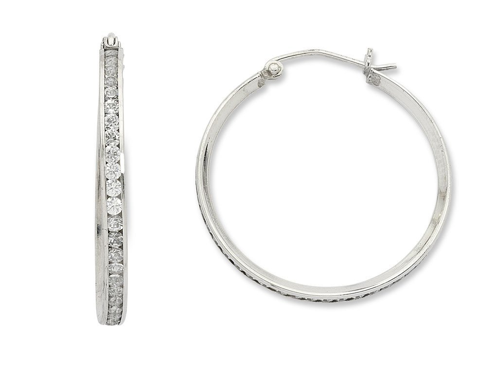 9ct White Gold Silver Infused Cubic Zirconia Hoops