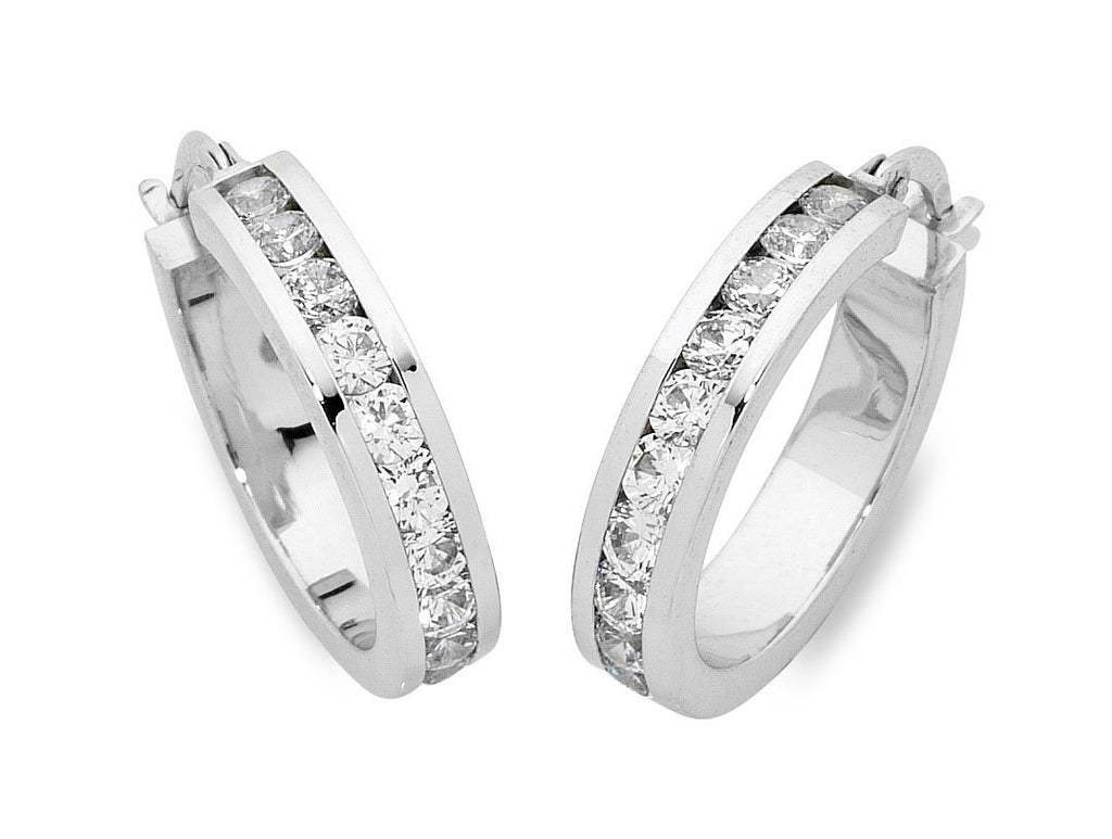 9ct White Gold Silver Infused Cubic Zirconia Earrings