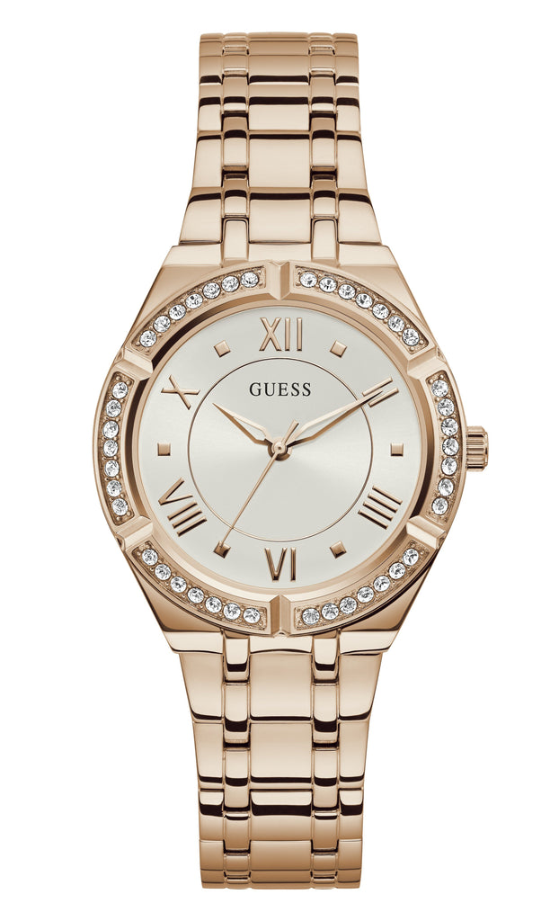 Guess Ladies Cosmo Crystal Rose Gold Watch GW0033L3 Watches Guess