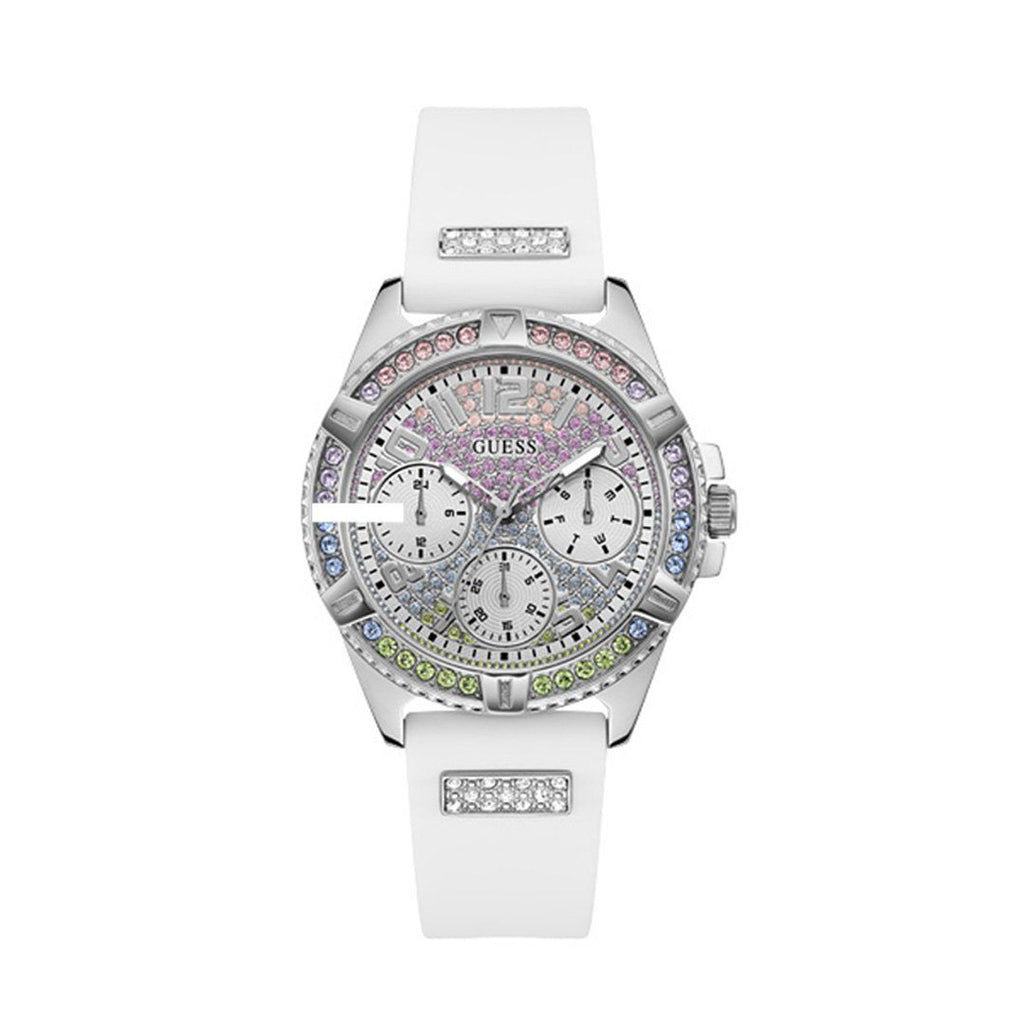 Guess Lady Iridescent Crystal Multifunction Silver & White Silicone Watch GW0045L1 Watches Guess