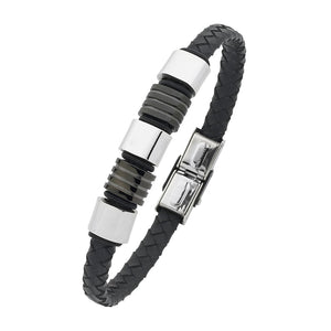 Stainless Steel Black Rubber And Leather 21cm Bracelet